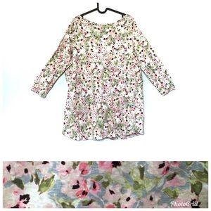 J Jill linen love 3/4 sleeve scoop neck floral top